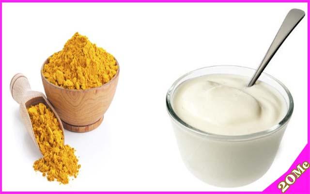 dưỡng da bằng tinh bột nghệ và sữa chua